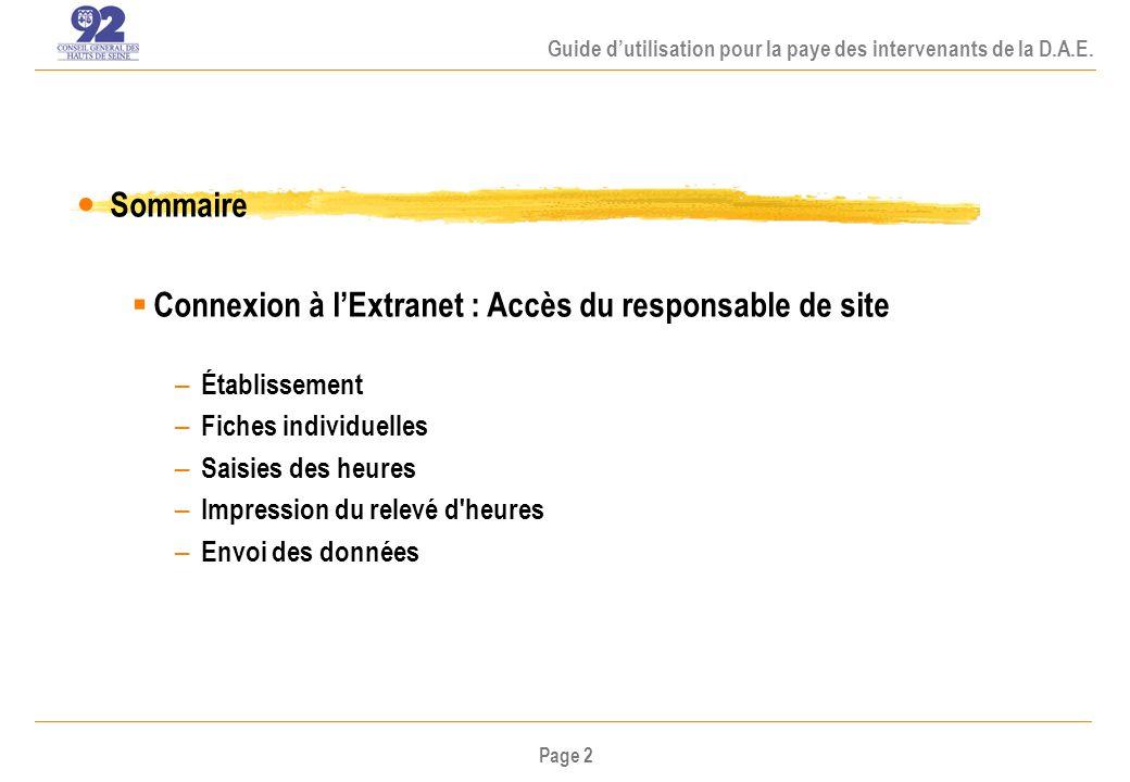 Page 3 Guide dutilisation pour la paye des intervenants de la D.A.E.