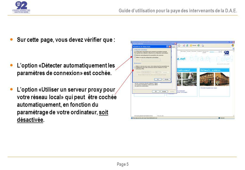Page 5 Guide dutilisation pour la paye des intervenants de la D.A.E.