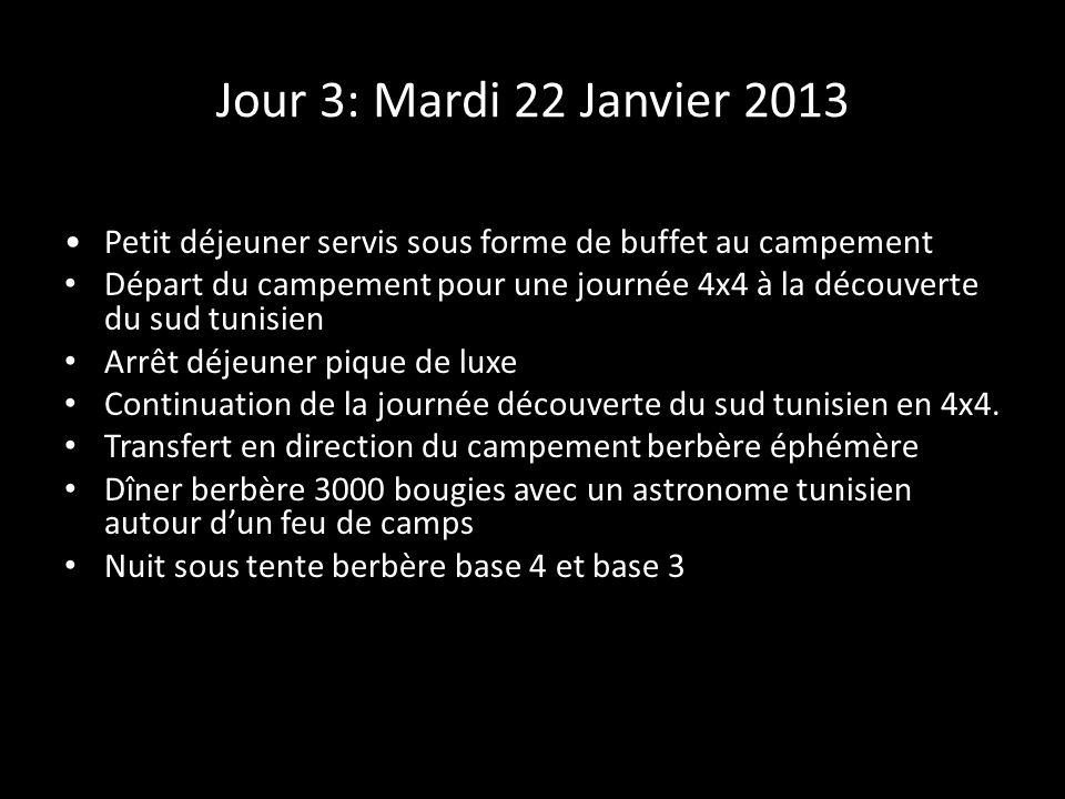Jour 3: Mardi 22 Janvier 2013 Petit déjeuner servis sous forme de buffet au campement Départ du campement pour une journée 4x4 à la découverte du sud tunisien Arrêt déjeuner pique de luxe Continuation de la journée découverte du sud tunisien en 4x4.