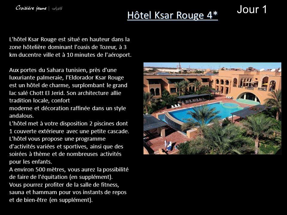 L'hôtel Ksar Rouge est situé en hauteur dans la zone hôtelière dominant l'oasis de Tozeur, à 3 km ducentre ville et à 10 minutes de l'aéroport. Aux po