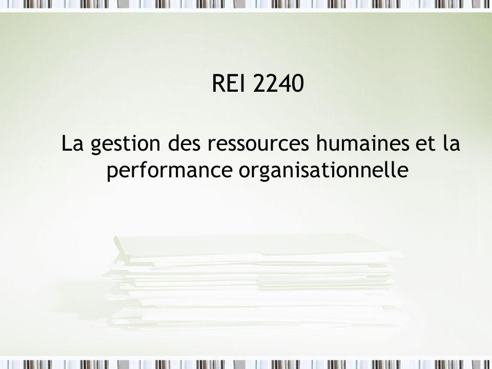 REI 2240 La gestion des ressources humaines et la performance organisationnelle
