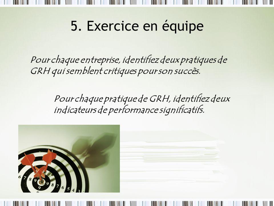 5. Exercice en équipe Pour chaque entreprise, identifiez deux pratiques de GRH qui semblent critiques pour son succès. Pour chaque pratique de GRH, id