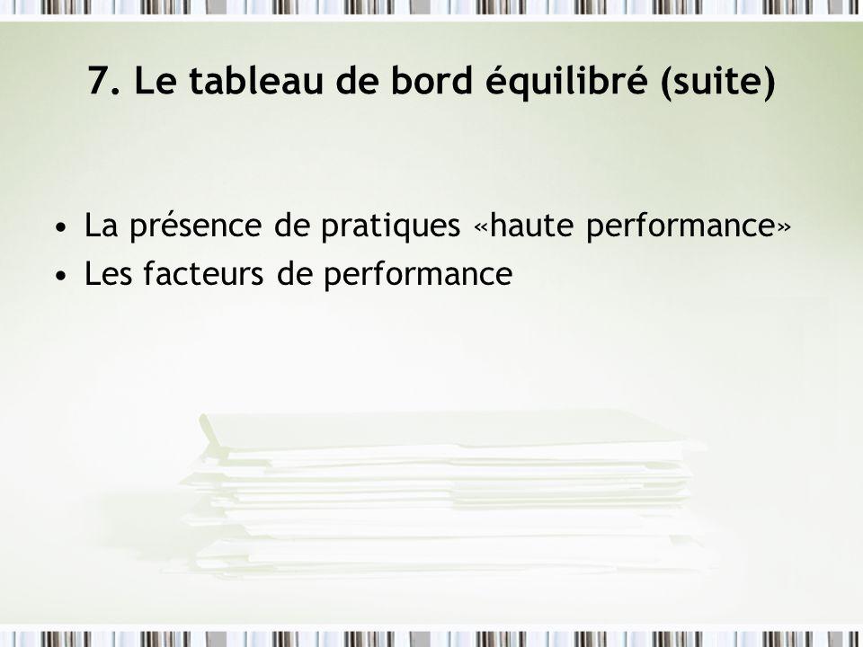 7. Le tableau de bord équilibré (suite) La présence de pratiques «haute performance» Les facteurs de performance