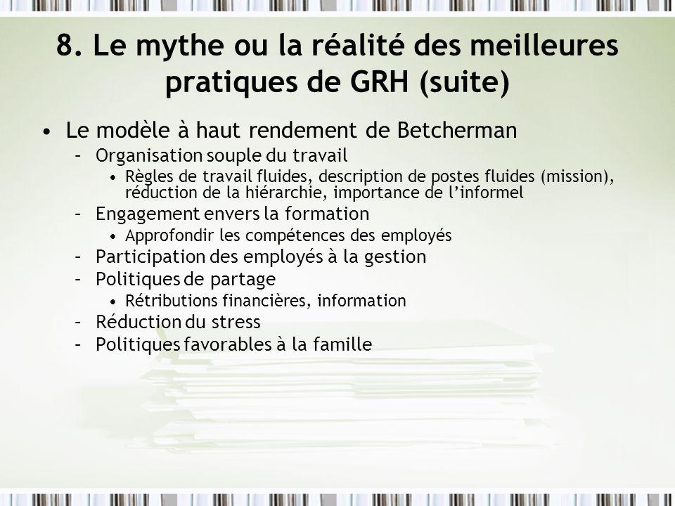 8. Le mythe ou la réalité des meilleures pratiques de GRH (suite) Le modèle à haut rendement de Betcherman –Organisation souple du travail Règles de t