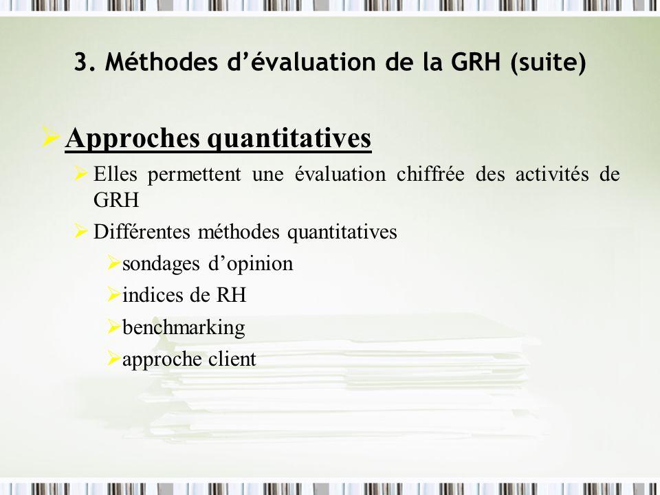 3. Méthodes dévaluation de la GRH (suite) Approches quantitatives Elles permettent une évaluation chiffrée des activités de GRH Différentes méthodes q