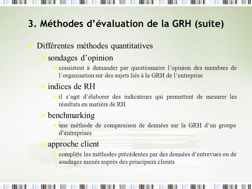 3. Méthodes dévaluation de la GRH (suite) Différentes méthodes quantitatives sondages dopinion consistent à demander par questionnaire lopinion des me