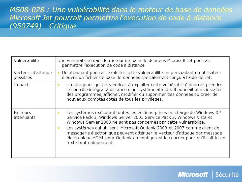 MS08-028 : Une vulnérabilité dans le moteur de base de données Microsoft Jet pourrait permettre l exécution de code à distance (950749) - Critique VulnérabilitéUne vulnérabilité dans le moteur de base de données Microsoft Jet pourrait permettre l exécution de code à distance Vecteurs d attaque possibles Un attaquant pourrait exploiter cette vulnérabilité en persuadant un utilisateur d ouvrir un fichier de base de données spécialement conçu à l aide de Jet.