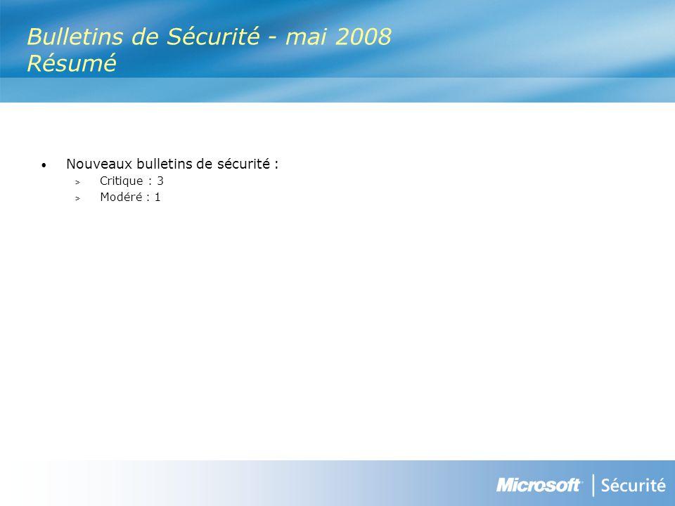 Bulletins de Sécurité - mai 2008 Résumé Nouveaux bulletins de sécurité : > Critique : 3 > Modéré : 1