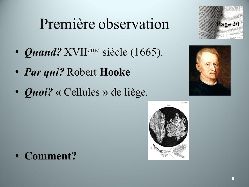 Première observation Quand? XVII ème siècle (1665). Par qui? Robert Hooke Quoi? « Cellules » de liège. Comment? Page 20