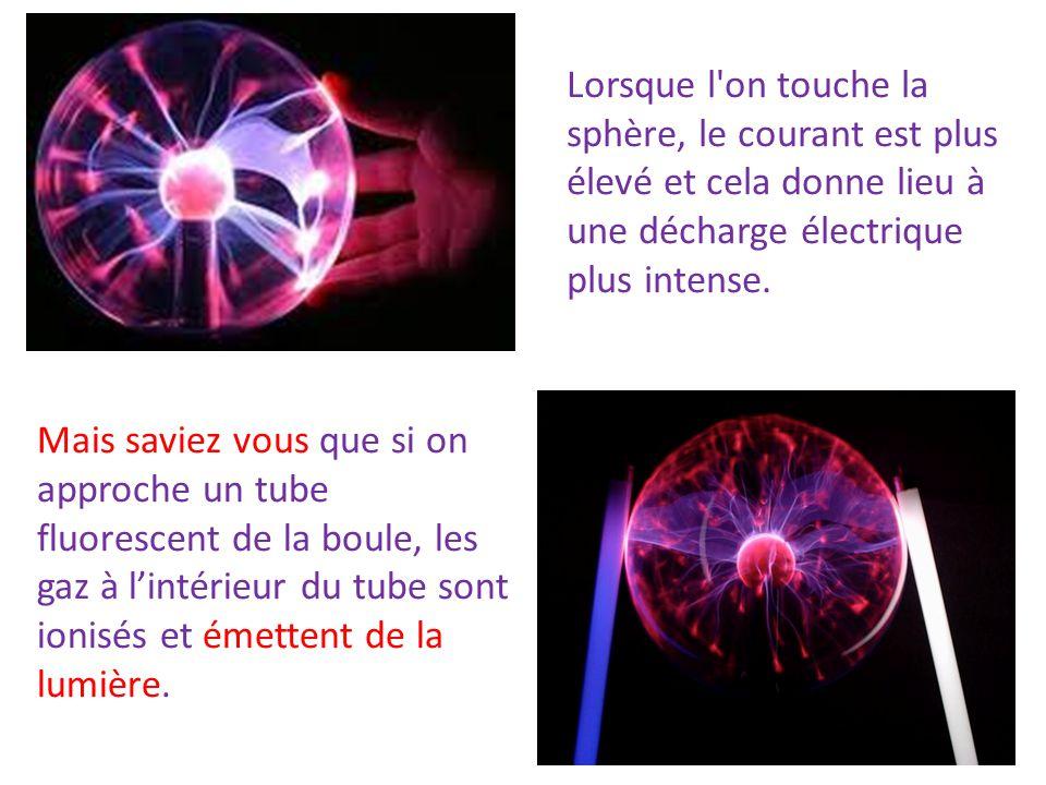 Mais saviez vous que si on approche un tube fluorescent de la boule, les gaz à lintérieur du tube sont ionisés et émettent de la lumière. Lorsque l'on