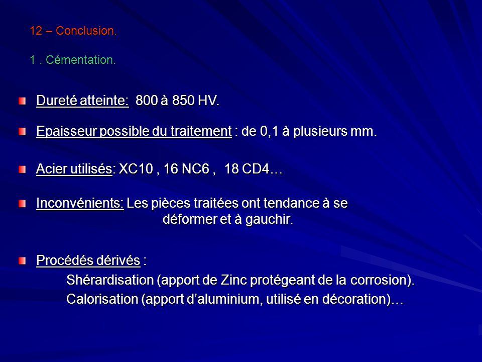 12 – Conclusion. 1. Cémentation. Procédés dérivés : Shérardisation (apport de Zinc protégeant de la corrosion). Calorisation (apport daluminium, utili