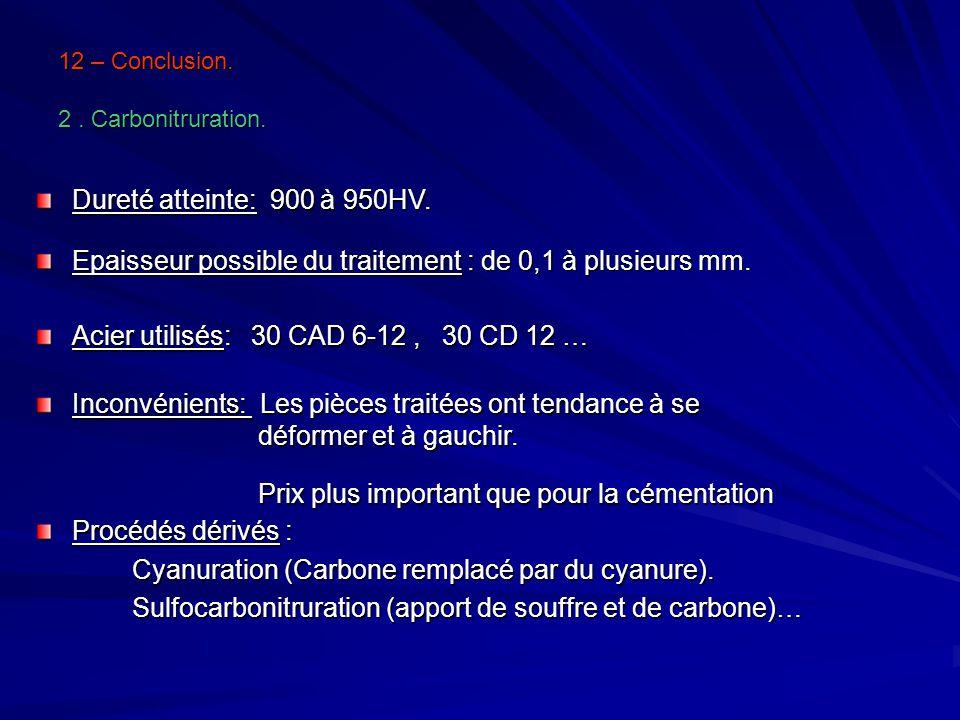 12 – Conclusion. 2. Carbonitruration. Dureté atteinte: 900 à 950HV. Epaisseur possible du traitement : de 0,1 à plusieurs mm. Acier utilisés: 30 CAD 6