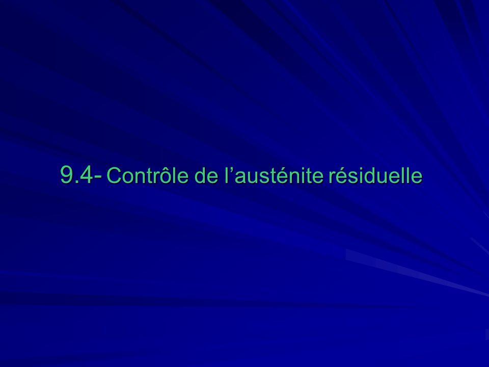 9- Choix dun acier de cémentation.9.4 Contrôle de lausténite résiduelle.