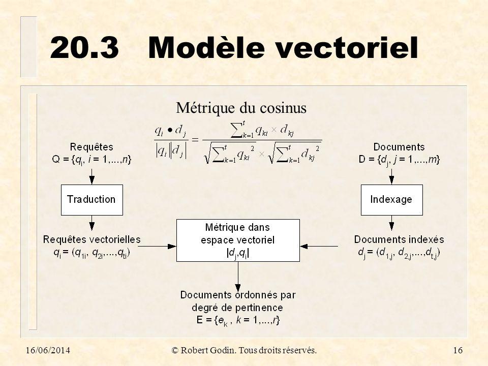 16/06/2014© Robert Godin. Tous droits réservés.16 20.3Modèle vectoriel Métrique du cosinus