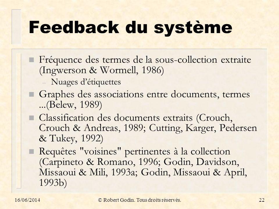 16/06/2014© Robert Godin. Tous droits réservés.22 Feedback du système n Fréquence des termes de la sous-collection extraite (Ingwerson & Wormell, 1986