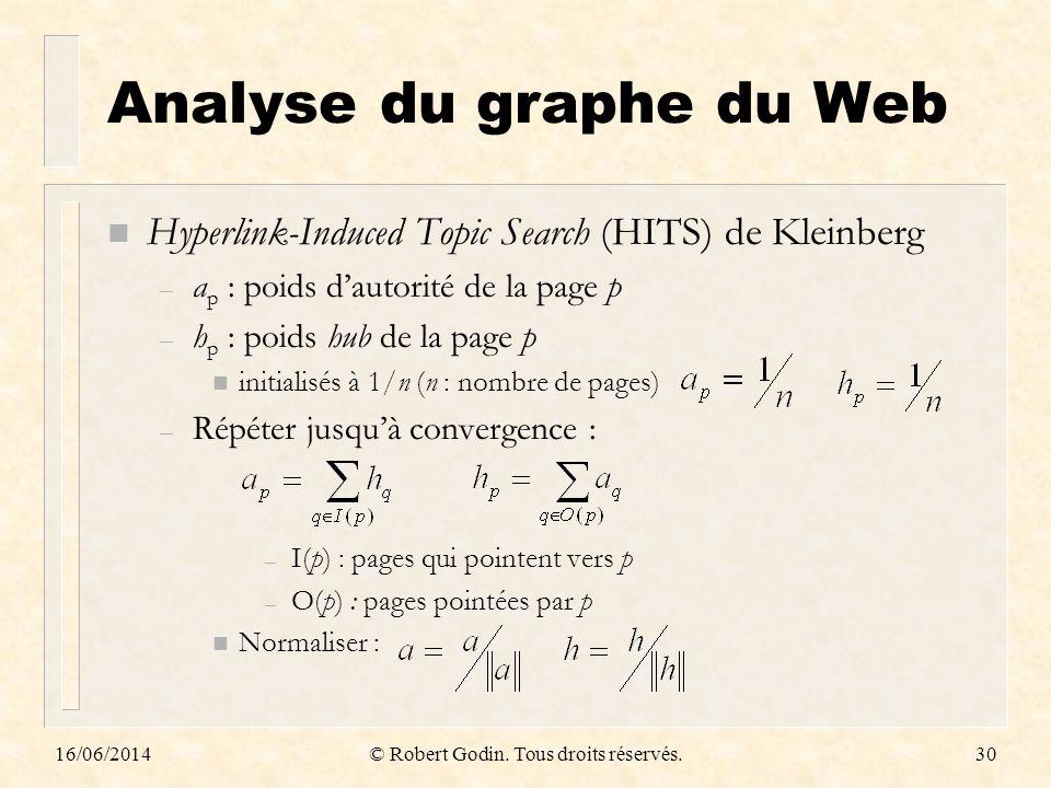 16/06/2014© Robert Godin. Tous droits réservés.30 Analyse du graphe du Web n Hyperlink-Induced Topic Search (HITS) de Kleinberg – a p : poids dautorit