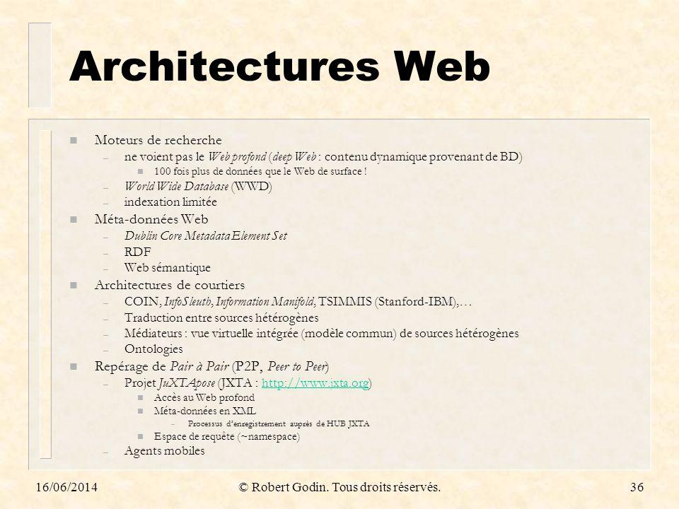 16/06/2014© Robert Godin. Tous droits réservés.36 Architectures Web n Moteurs de recherche – ne voient pas le Web profond (deep Web : contenu dynamiqu