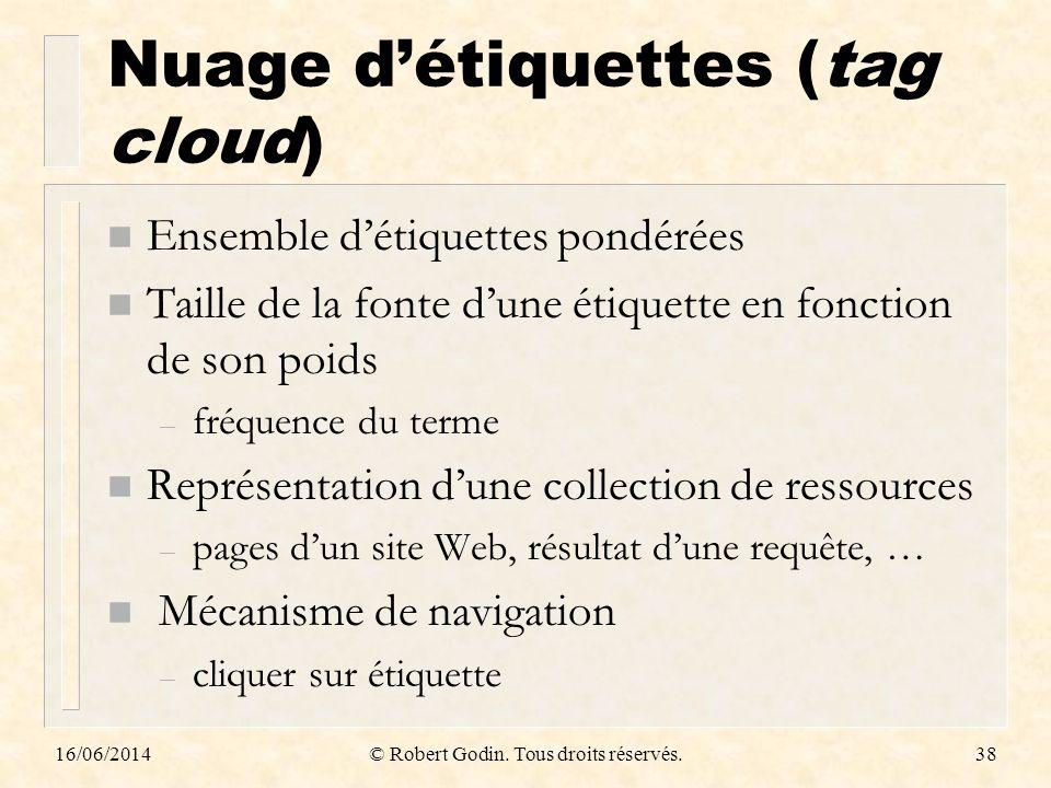 Nuage détiquettes (tag cloud) n Ensemble détiquettes pondérées n Taille de la fonte dune étiquette en fonction de son poids – fréquence du terme n Rep