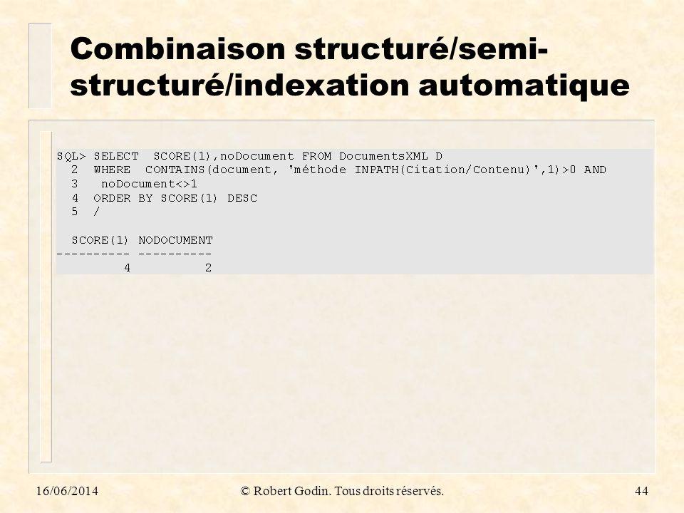 16/06/2014© Robert Godin. Tous droits réservés.44 Combinaison structuré/semi- structuré/indexation automatique