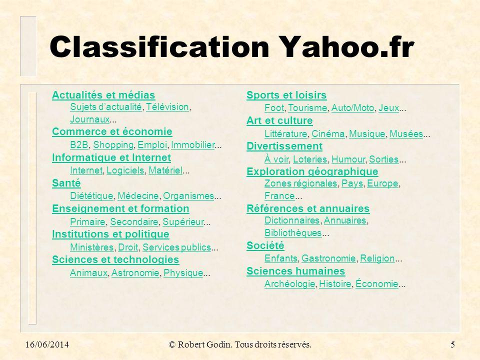 16/06/2014© Robert Godin. Tous droits réservés.5 Classification Yahoo.fr Actualités et médias Sujets dactualitéActualités et médias Sujets dactualité,