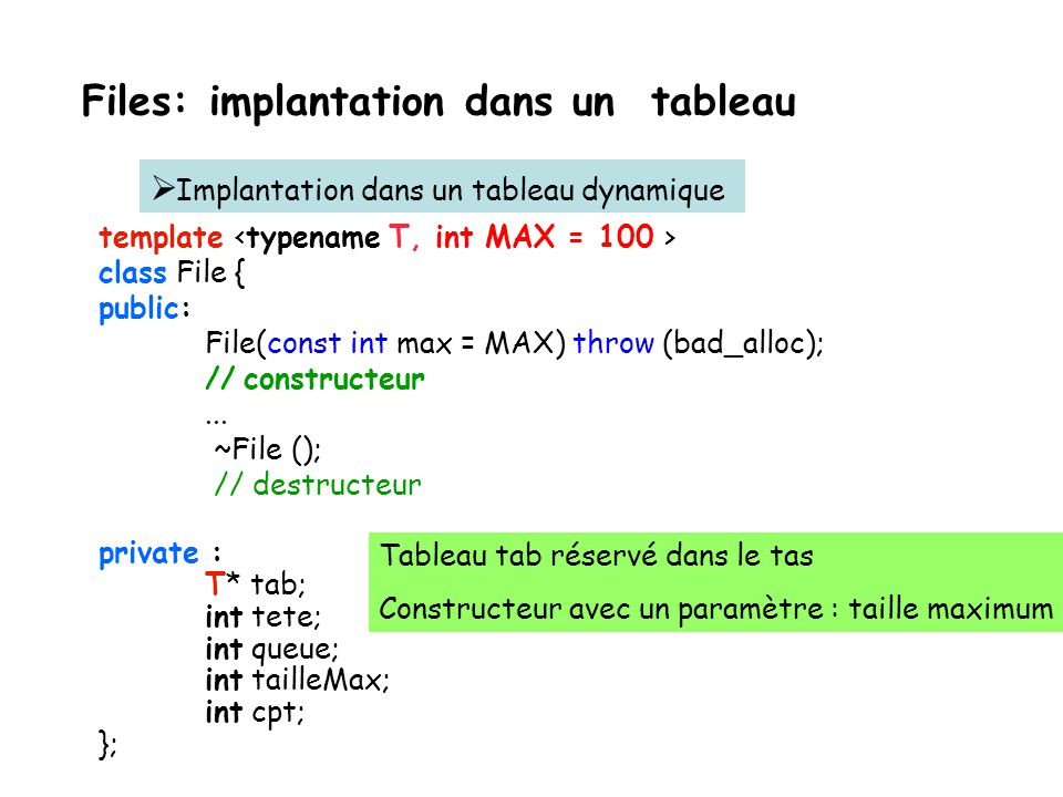Files: implantation dans un tableau Implantation dans un tableau dynamique template class File { public: File(const int max = MAX) throw (bad_alloc);