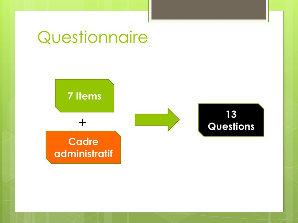 Questionnaire 7 Items + Cadre administratif 13 Questions