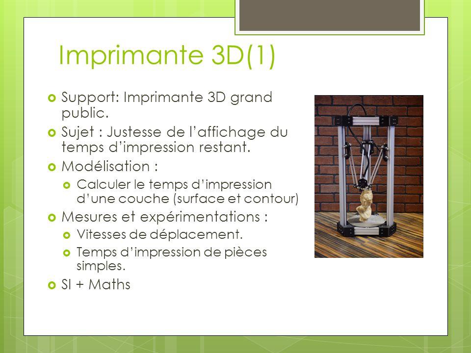 Imprimante 3D(1) Support: Imprimante 3D grand public. Sujet : Justesse de laffichage du temps dimpression restant. Modélisation : Calculer le temps di
