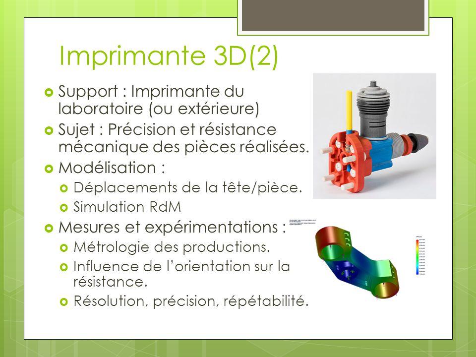 Imprimante 3D(2) Support : Imprimante du laboratoire (ou extérieure) Sujet : Précision et résistance mécanique des pièces réalisées. Modélisation : Dé