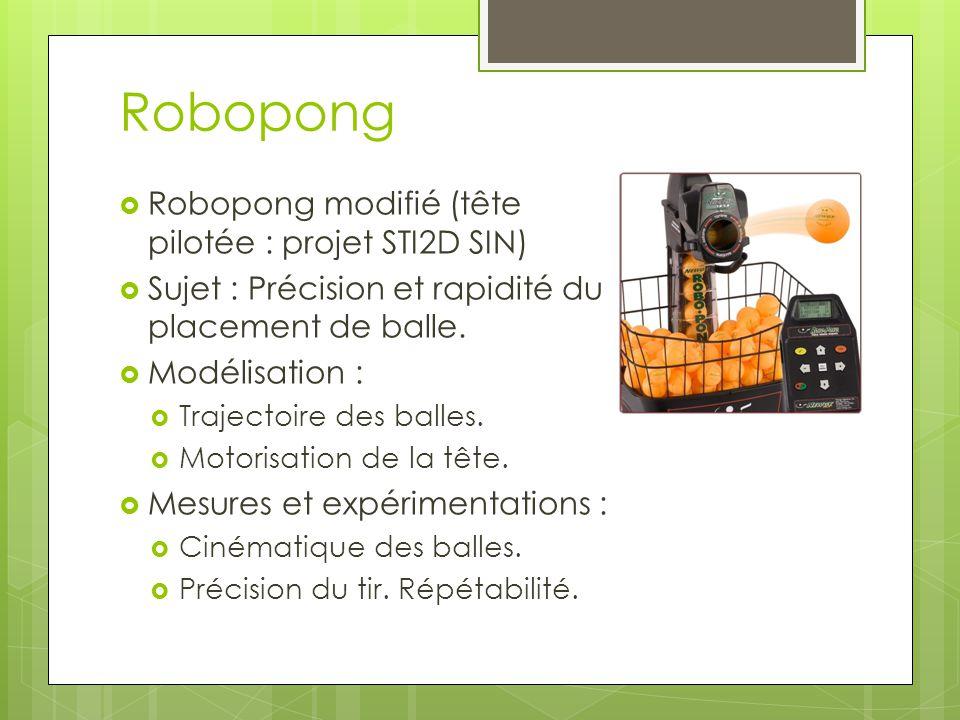 Robopong Robopong modifié (tête pilotée : projet STI2D SIN) Sujet : Précision et rapidité du placement de balle. Modélisation : Trajectoire des balles