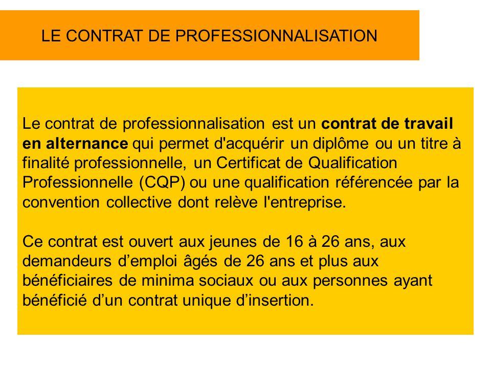 LE CONTRAT DE PROFESSIONNALISATION Le contrat de professionnalisation est un contrat de travail en alternance qui permet d acquérir un diplôme ou un titre à finalité professionnelle, un Certificat de Qualification Professionnelle (CQP) ou une qualification référencée par la convention collective dont relève l entreprise.