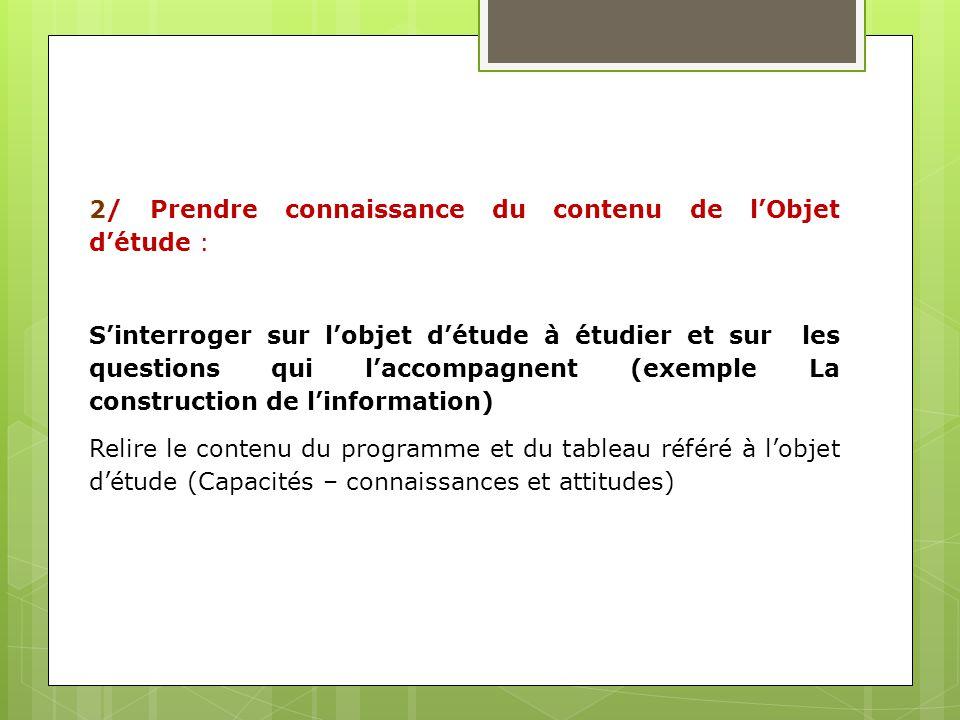 2/ Prendre connaissance du contenu de lObjet détude : Sinterroger sur lobjet détude à étudier et sur les questions qui laccompagnent (exemple La const