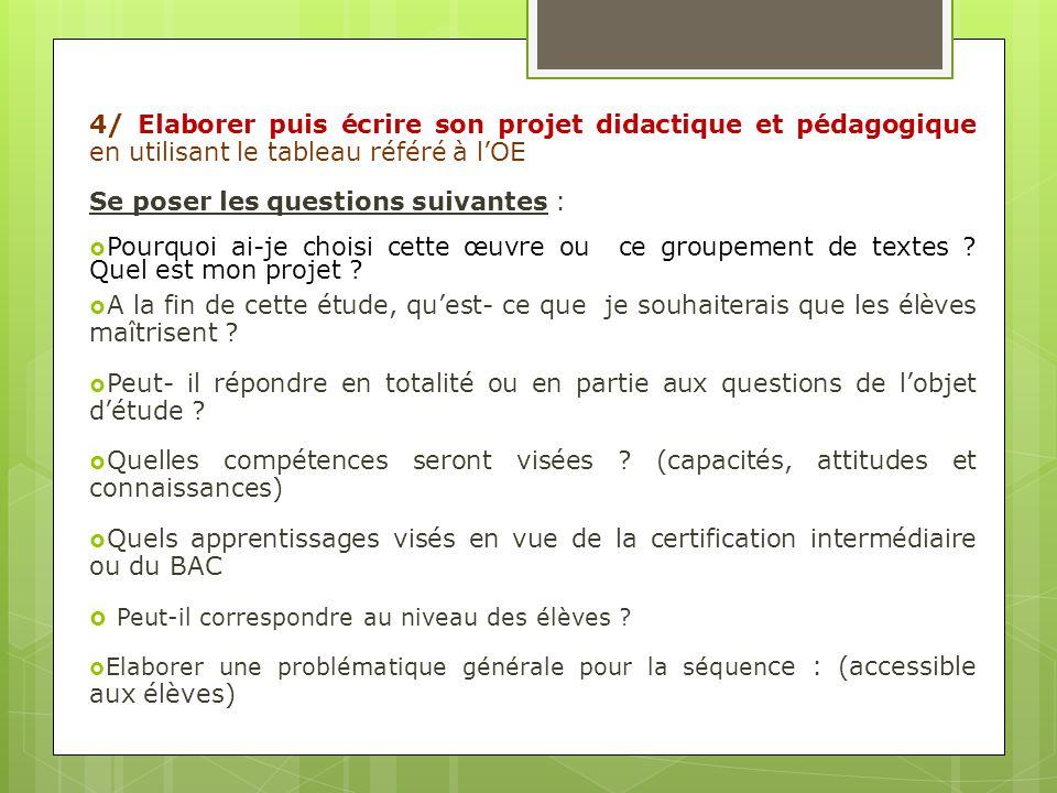 4/ Elaborer puis écrire son projet didactique et pédagogique en utilisant le tableau référé à lOE Se poser les questions suivantes : Pourquoi ai-je ch