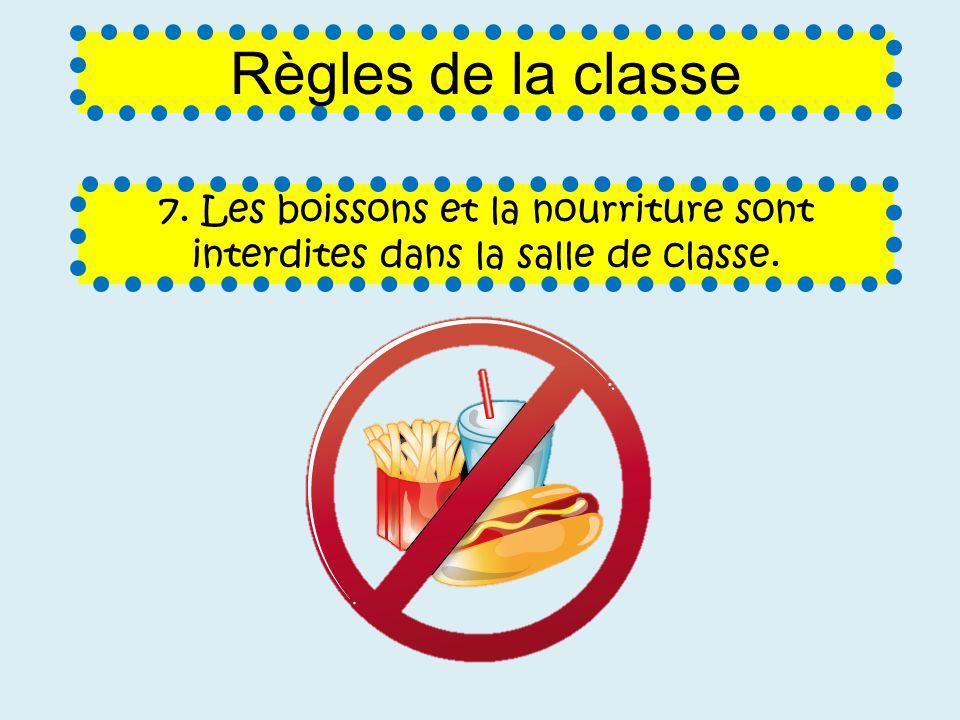 7. Les boissons et la nourriture sont interdites dans la salle de classe. Règles de la classe