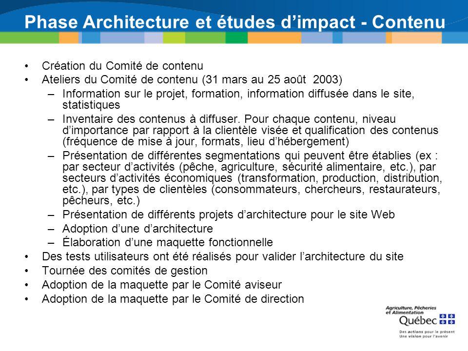 Phase Architecture et études dimpact - Contenu Création du Comité de contenu Ateliers du Comité de contenu (31 mars au 25 août 2003) –Information sur