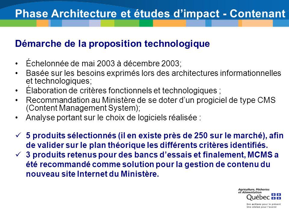 Phase Architecture et études dimpact - Contenant Démarche de la proposition technologique Échelonnée de mai 2003 à décembre 2003; Basée sur les besoin