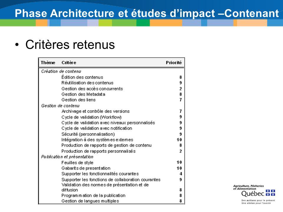 Phase Architecture et études dimpact –Contenant Critères retenus