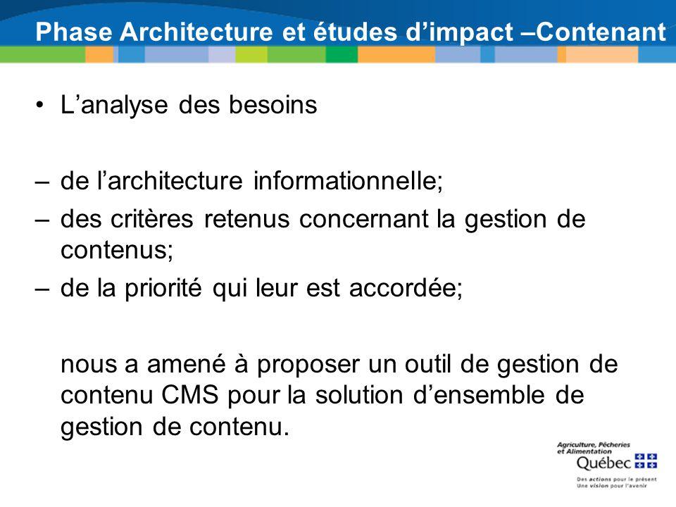 Phase Architecture et études dimpact –Contenant Lanalyse des besoins –de larchitecture informationnelle; –des critères retenus concernant la gestion d