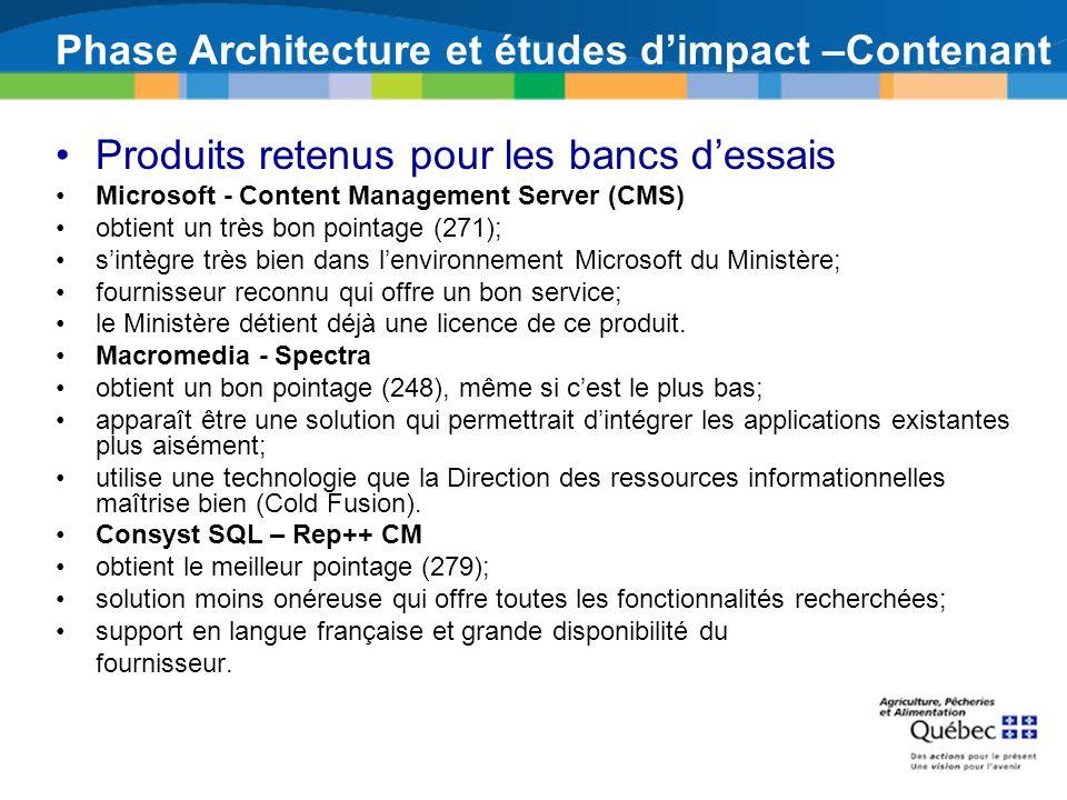 Phase Architecture et études dimpact –Contenant Produits retenus pour les bancs dessais Microsoft - Content Management Server (CMS) obtient un très bo