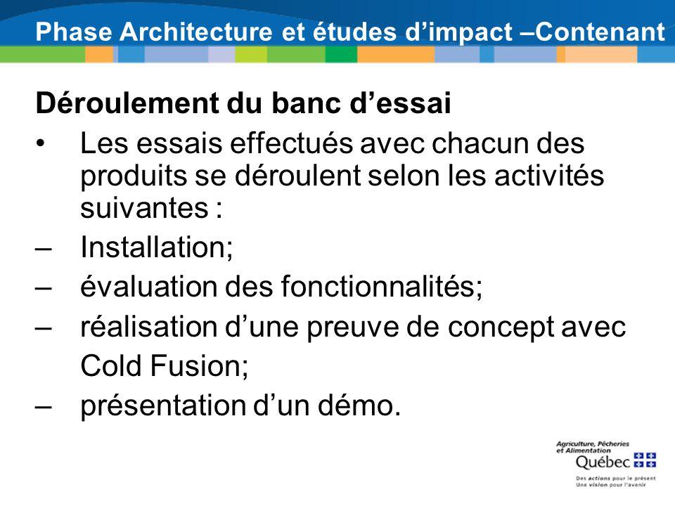 Phase Architecture et études dimpact –Contenant Déroulement du banc dessai Les essais effectués avec chacun des produits se déroulent selon les activi