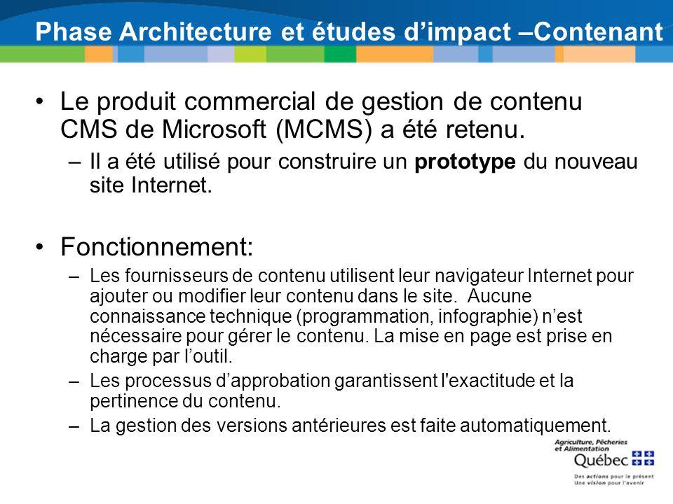 Phase Architecture et études dimpact –Contenant Le produit commercial de gestion de contenu CMS de Microsoft (MCMS) a été retenu. –Il a été utilisé po