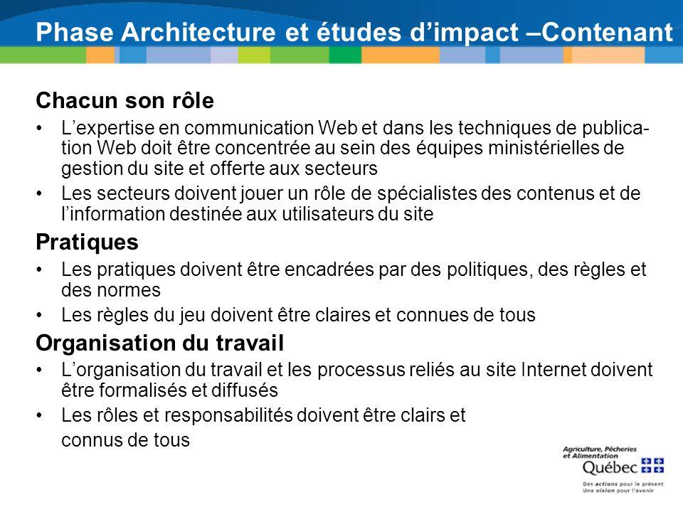 Phase Architecture et études dimpact –Contenant Chacun son rôle Lexpertise en communication Web et dans les techniques de publica tion Web doit être