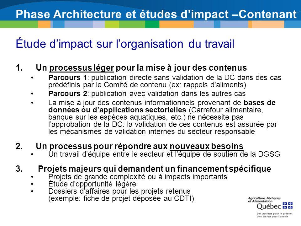 Phase Architecture et études dimpact –Contenant Étude dimpact sur lorganisation du travail 1.Un processus léger pour la mise à jour des contenus Parco
