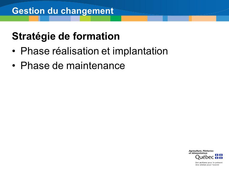 Stratégie de formation Phase réalisation et implantation Phase de maintenance