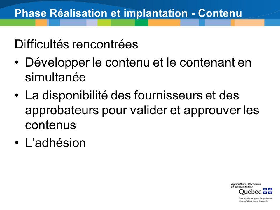 Phase Réalisation et implantation - Contenu Difficultés rencontrées Développer le contenu et le contenant en simultanée La disponibilité des fournisse