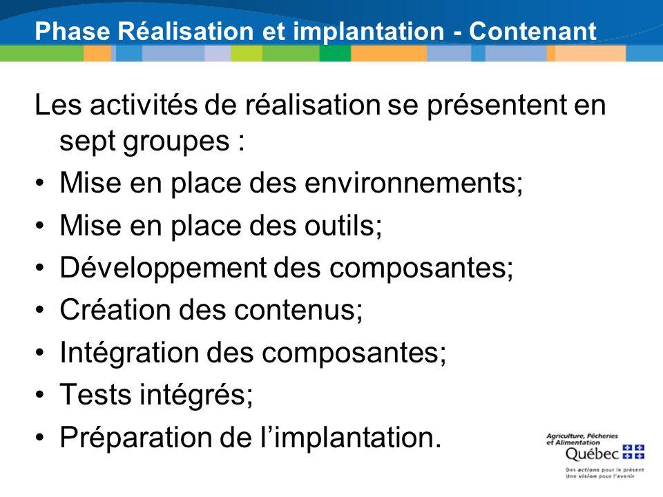 Phase Réalisation et implantation - Contenant Les activités de réalisation se présentent en sept groupes : Mise en place des environnements; Mise en place des outils; Développement des composantes; Création des contenus; Intégration des composantes; Tests intégrés; Préparation de limplantation.