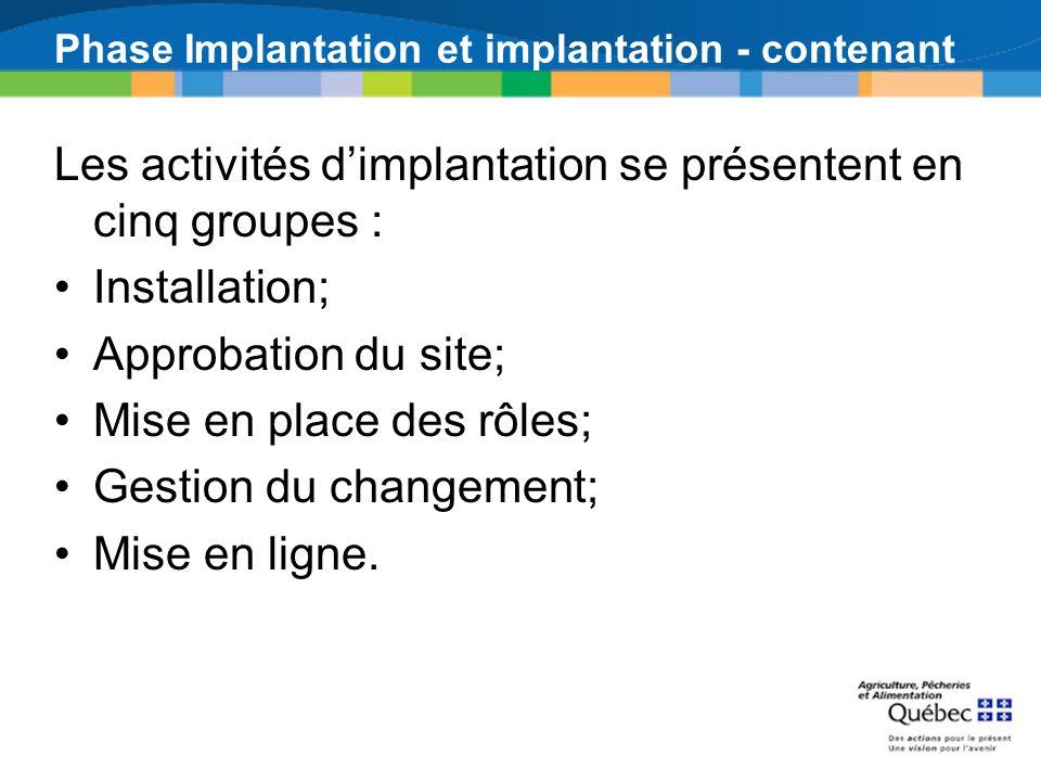 Phase Implantation et implantation - contenant Les activités dimplantation se présentent en cinq groupes : Installation; Approbation du site; Mise en place des rôles; Gestion du changement; Mise en ligne.