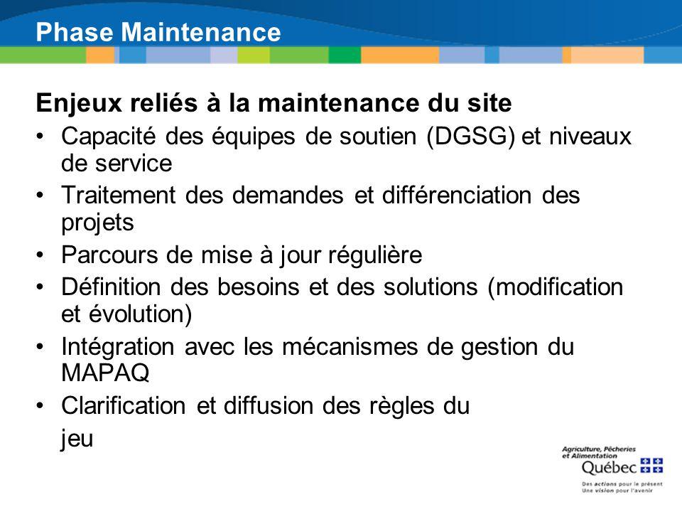 Enjeux reliés à la maintenance du site Capacité des équipes de soutien (DGSG) et niveaux de service Traitement des demandes et différenciation des pro