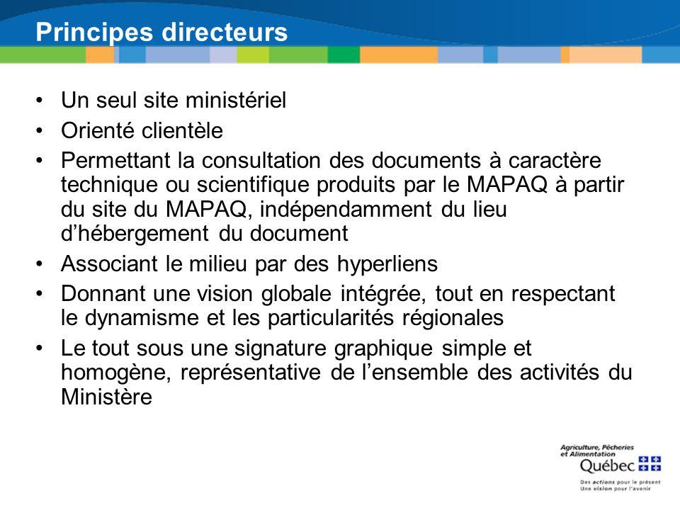 Principes directeurs Un seul site ministériel Orienté clientèle Permettant la consultation des documents à caractère technique ou scientifique produit