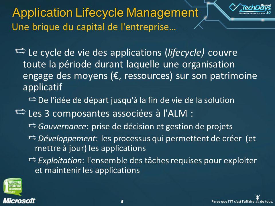 88 Une brique du capital de l'entreprise… Le cycle de vie des applications (lifecycle) couvre toute la période durant laquelle une organisation engage