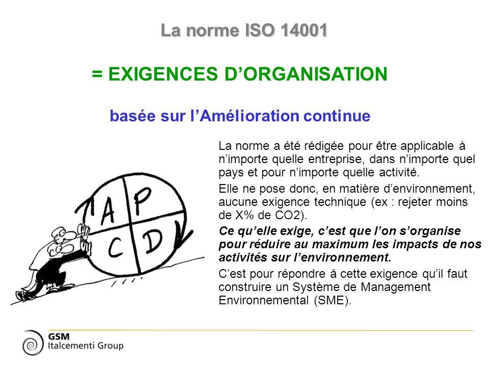 La norme ISO 14001 = EXIGENCES DORGANISATION basée sur lAmélioration continue La norme a été rédigée pour être applicable à nimporte quelle entreprise